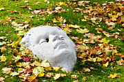 Skulpture Framed Prints - Stone autumn face Framed Print by Aleksandr Volkov