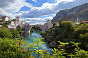 Mostar Framed Prints - Stone Bridge At Mostar Framed Print by Maurice Ford
