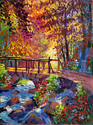 Pathway Paintings - Stone Bridge at Royal Gardens by David Lloyd Glover