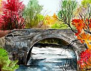 Maine Artist Paintings - Stone Bridge In Maine  by Brenda Owen