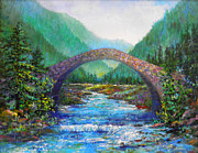 Landscape With Mountains Originals - Stone Bridge by Lou Ann Bagnall