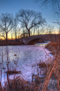 Pond In Park Prints - Stone Bridge on Frozen Purple Pond Print by Stephan Mazurek