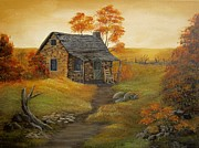 Wooden Cabin Paintings - Stone Cabin by Kathy Sheeran