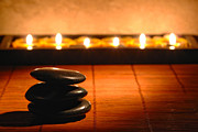 Bamboo Mat Posters - Stone Cairn and Candles for Quiet Meditation Poster by Olivier Le Queinec