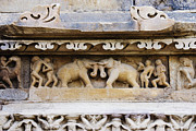 Carving Prints - Stone Carvings in Old Temples at Khajuraho Print by Jeremy Woodhouse