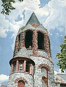 Perspective Painting Originals - Stone Church Bell Tower by Dominic White