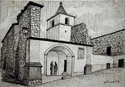 Church Drawings Originals - Stone Church Central Portugal by Lester Glass