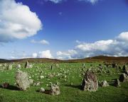 Field Stone Framed Prints - Stone Circles On A Landscape, Beaghmore Framed Print by The Irish Image Collection