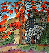 Autumn Woods Tapestries - Textiles Posters - Stone Cottage Silk Painting Poster by Linda Marcille