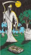 Graveyard Drawings - Stone Dead by Law Stinson