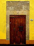 Stone Entrance Framed Prints - Stone Door in Yellow Framed Print by Olden Mexico