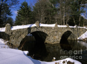 Winter Roads Photo Prints - Stone Double Arched Bridge - Hillsborough New Hampshire USA Print by Erin Paul Donovan