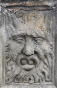 Closeup Sculpture Posters - Stone Face Poster by Michal Boubin