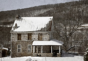 Frame House Photos - Stone Farmhouse In Snow by John Stephens