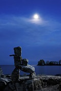 Inukshuk Art - Stone Figure in Moonlight by Oleksiy Maksymenko