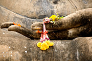 Wat Metal Prints - Stone Hand Of Buddha Metal Print by Adrian Evans