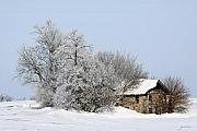 Winter Photos Metal Prints - Stone House in Winter Metal Print by Gary Gunderson