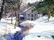 Snow Scene Framed Prints - Stone Mill Framed Print by David Lloyd Glover