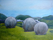 Visionary Artist Painting Originals - Stone Spheres of Costa Rica by Susan Tower