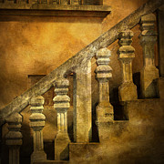 Banister Posters - Stone stairs and balustrade. Poster by Bernard Jaubert