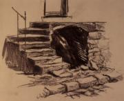 Printed Drawings - Stone Stairway by Chris  Riley