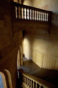 Stone Steps Prints - Stone stairwell inside the historic Palace of Charles V at Alhambra Print by Sami Sarkis