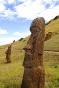 Moai Prints - Stone Statue Profile Print by Bill Bachmann - Printscapes