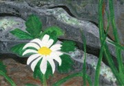 Steps Painting Posters - Stone Steps Daisy  Poster by Tree Whisper Art - DLynneS