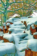 Snowy Trees Digital Art - Stone Steps in Winter by Jeff Kolker