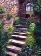Gates Paintings - Stone Steps Tuscany by David Lloyd Glover