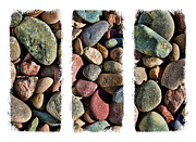 Colored Stones Framed Prints - Stone Triptych 3 Framed Print by Kelley King