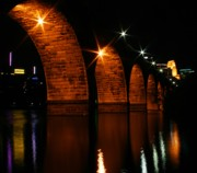 Water Reflections Photos - Stonearch Bridge - Minneapolis by Angie Schutt