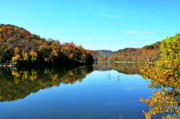Man-made Lake Posters - Stonecoal Lake in Autumn Color Poster by Thomas R Fletcher