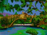 Waterscape Drawings Posters - Stoned Bridge. Poster by Terry Conroy