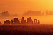 Home Ownership Framed Prints - Stonehenge At Sunrise On A Misty Morning Framed Print by Nigel Hicks