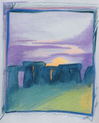 Ruins Drawings Metal Prints - Stonehenge blue by jrr Metal Print by First Star Art