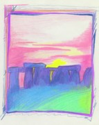 Ruins Drawings Metal Prints - Stonehenge  Metal Print by First Star Art