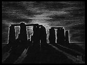 Sunrise Drawings Framed Prints - Stonehenge in Black and White Framed Print by Geoffrey C Lewis