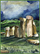 Morning Light Drawings - Stonehenge in the Light by Mindy Newman