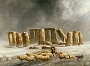 Sheepdog Prints - Stonehenge in Winter  Print by Walter Williams