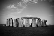 Black And White Photography Acrylic Prints - Stonehenge On a Clear Blue Day BW Acrylic Print by Kamil Swiatek