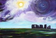 Visionary Art Painting Prints - Stonehenge Plain Print by Susan Tower