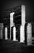 Stonehenge Digital Art Prints - Stonehenge Replica in Reverse BW Print by Chalet Roome-Rigdon
