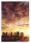 Stonehenge Sunrise Print by Ryan Fox