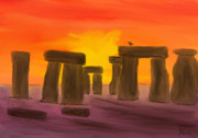 Stonehenge Digital Art Prints - Stonehenge Sunset Print by Andy Bell
