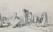 Outdoors Drawings Framed Prints - Stonehenge Wiltshire Framed Print by John Constable