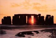 Setting Painting Framed Prints - Stonehenge Winter Solstice Framed Print by English School