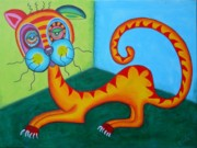 Trippy Paintings - Stoner the crazy cat by Claudia Tuli
