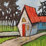 Charming Cottage Painting Posters - Stonewall Cottage Poster by Tim Nyberg