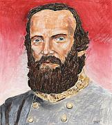 Civil Pastels Framed Prints - Stonewall Jackson Framed Print by Dennis Larson